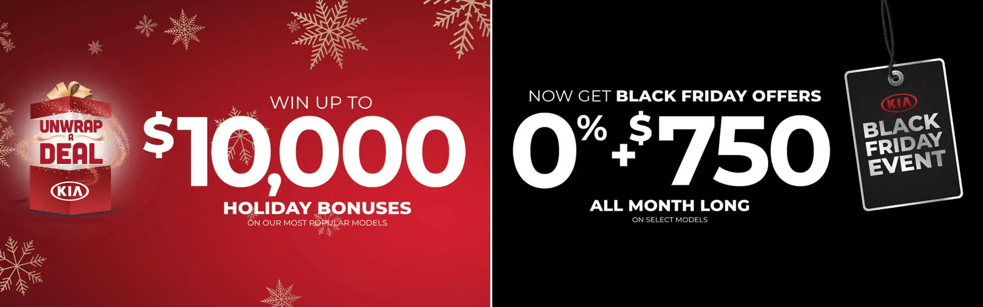 Kia Holiday special: win up to $10,000 on holiday bonuses, get black friday offers 0% + $750 all month long